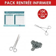 Pack infirmier (mémo calcul de doses + pince Kocher + ciseaux + porte-stylo)
