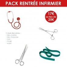 Pack infirmier (pince Kocher + ciseaux + stéthoscope + garrot)
