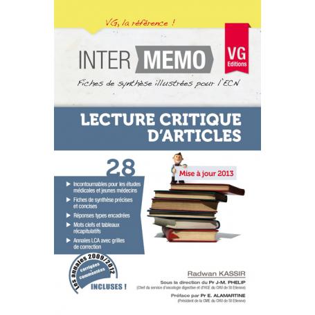 LECTURE CRITIQUE D'ARTICLES MISE A JOUR 2013